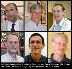 Photos of Gp-B Co-Investigators. CLockwise from top left: Sasha Buchman, Mac Keiser, John Lipa, James Lockhart, Barry Muhlfelder and Michael Taber.