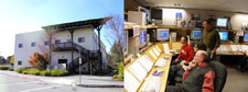 Photos of the outside and inside of the GP-B Mission Opeations Center (MOC) in 2005. (The building was demolished in 2006 to make room for a new environmental science building.)