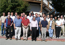 The GP-B team assembled for a group photo following the final all-hands meeting, the day after helium depletion.