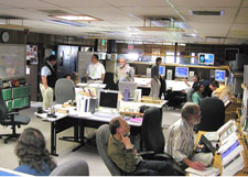 Monitoring spacecraft & payload systems in the GP-B Mission Operations Center (MOC) at Stanford.