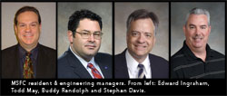 Photos of MSFC resident and engineering managers. Fromleft: Edward Ingraham, Todd May, Buddy Randolph and Stephan Davis.