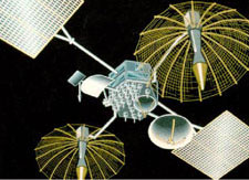 Drawing of a NASA TDRSS (Tracking & Data Relay Satellite System) satellite.