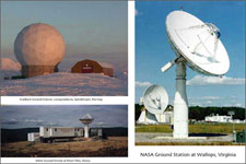 Photos of NASA ground tracking stations at Svalbard, Norway, Wallops, Virginia, and Poker Flats, Alaska.