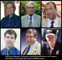 Photos of Gp-B Program Managers. CLockwise from top left: Bradford Parkinson, John Turneaure, Sasha Buchman, Ron Singley, Gaylord Green and William Bencze.
