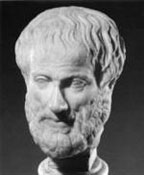 Sculptured bust of Aristotle