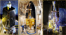 Three views of the spacecraft.