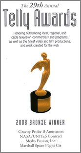 NASA-MSFC/GP-B 2008 Telly Award Certificate for GP-B Animations