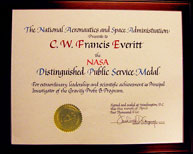 Certificate accompanying the NASA Distinguished Public Service Medal.