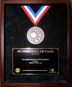 The Space Technology Hall of Fame medal awarded to the GP-B Labs in on April 6, 2006.