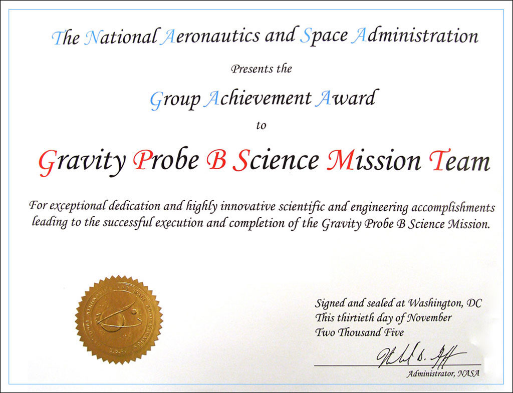 Gp b missionlegacy the nasa group achievement award certificate that was presented to each member of the stanford 1betcityfo Images