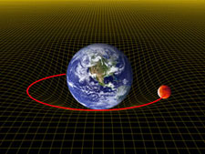 Illustration of the geodetic warping of spacetime.