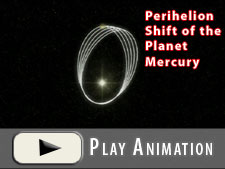 Perihelion shift in the orbit of the planet Mercury.